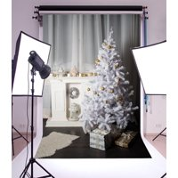 GreenDecor Polyester 5x7ft Christmas Photography Backdrop White Interior Decorations Fireplace GifT Box Blanket Golden Balls Curtain Scene Photo Background Children Baby Adults Portraits Backdrop