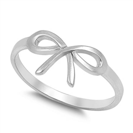 Silver Box Ring - Sterling Silver Women's Cutout Bow Ribbon Ring (Sizes 2-12) (Ring Size 2)