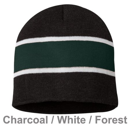 Winter Unisex Knit Warm Rugby Striped Beanie Hat for Outdoor Sport Skiing Snowboard Skating Hiking Camping,Christmas Gifts - Charcoal/ White/ Forest