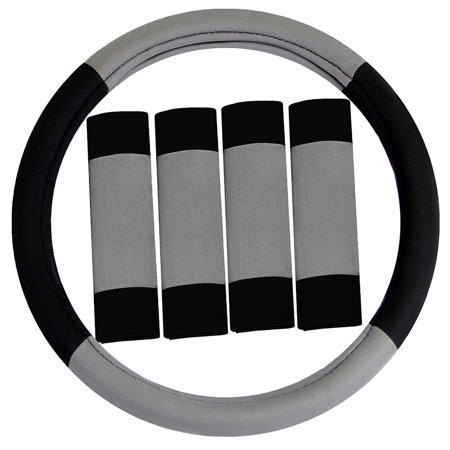 FH GROUP Modernistic Steering Wheel Cover and Seat Belt Pads, Gray (Steering Wheel Cover Gray)