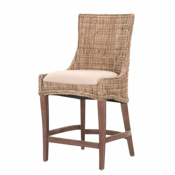 Surprising Maklaine 26 Counter Stool In Gray Kubu Wicker And Saddle Brown Set Of 2 Squirreltailoven Fun Painted Chair Ideas Images Squirreltailovenorg
