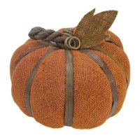 "6"" Autumn Harvest Rust Orange Burlap Pumpkin with Bamboo Thanksgiving Fall Decoration"
