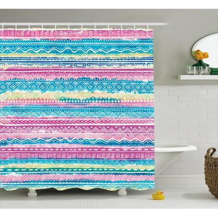 Tribal Shower Curtain Watercolor Tie Dye Effect Artwork Stripes Aquatic Theme Bohemian Aztec Print
