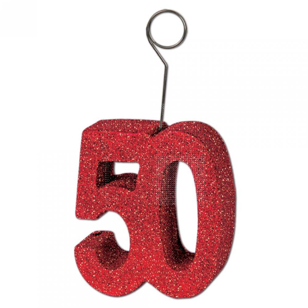Red Glittered ''50'' Photo/Balloon Holder (Qty of 6)
