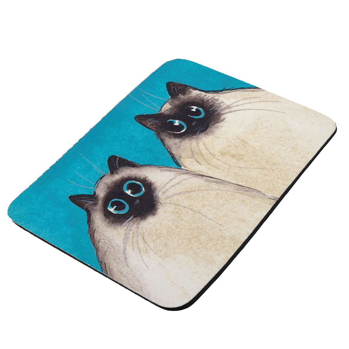 Silly Himalayan Kitties Abstract Cat Art by Denise Every - KuzmarK Mousepad / Hot Pad / Trivet