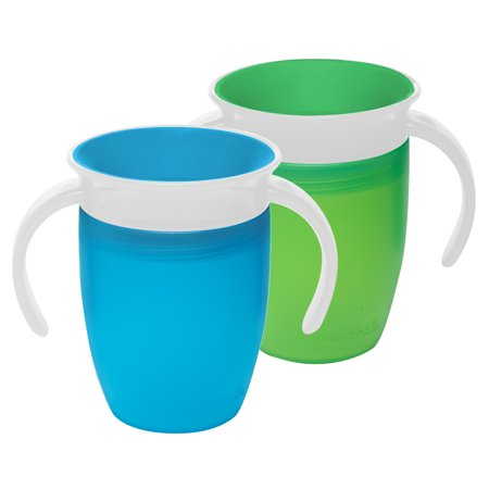 Munchkin Miracle 7 oz 360° Trainer Cup, 2 Pack, Blue/Green, 6+ (Renaissance Baby Cup)