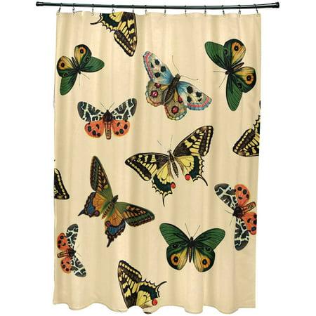 Simply Daisy 71 X 74 Butterflies Animal Print Shower Curtain