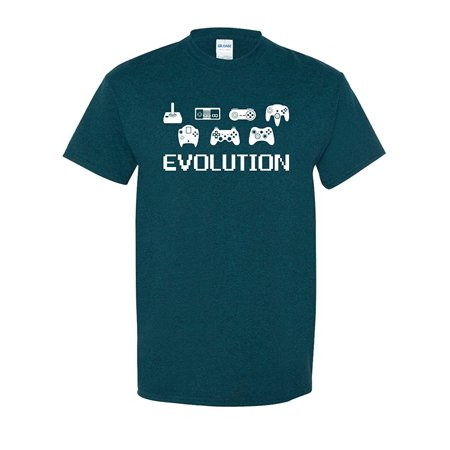 Mens 8 Cascade (Evolution of Video Game Gamer Controller 8 Bit Classic Vintage Tee Funny Humor Pun Graphic Adult Mens T-Shirt Blue)
