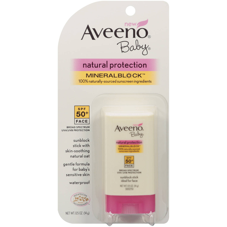 Aveeno Baby Mineralblock Face Sunblock SPF 50, .5 oz - Walmart.com