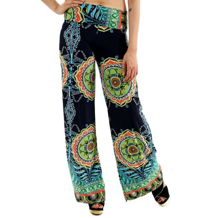 Uptown Apparel Womens Fold Over Waist Wide Leg Palazzo Pants, Good for tall, curvy women - Available in S-XXXL - MADE IN USA