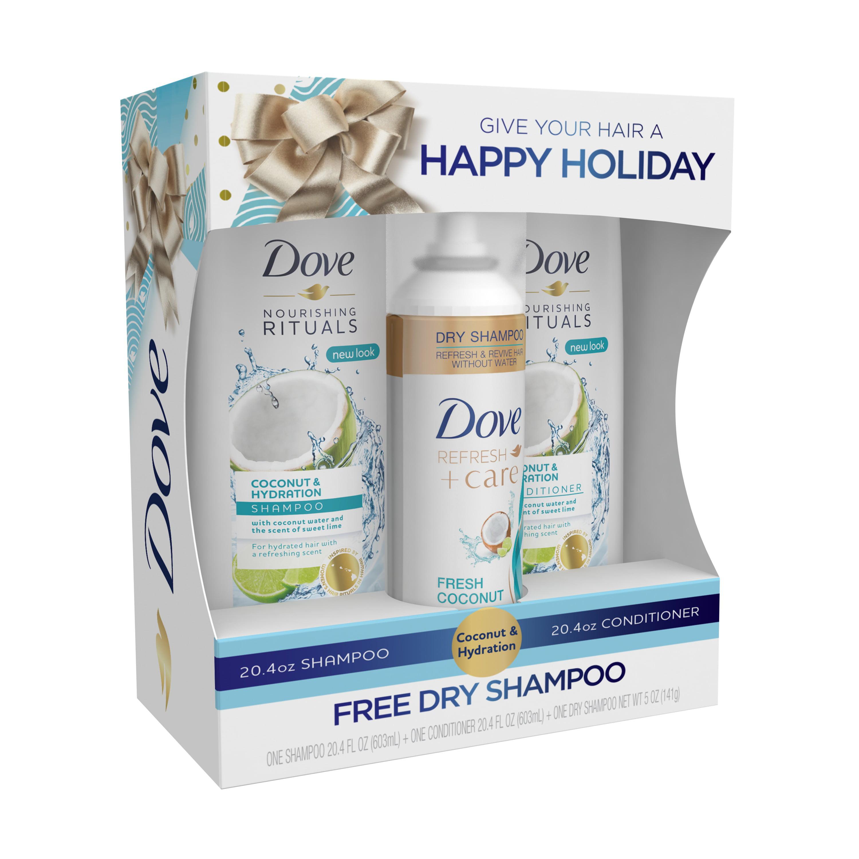 Dove 3-Pc Coconut & Hydration Gift Set (Shampoo, Conditioner, Dry Shampoo), 45.8 oz