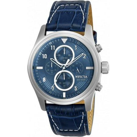 22977 Men's Aviator Chronograph Blue Genuine Leather Light Blue Dial Ss Watch