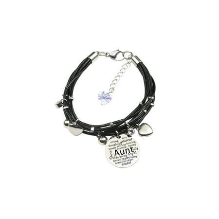 Genuine Leather Bracelet made with Crystals from Swarovski - Aunt (Swarovski Crystal Prayer Box Bracelet)