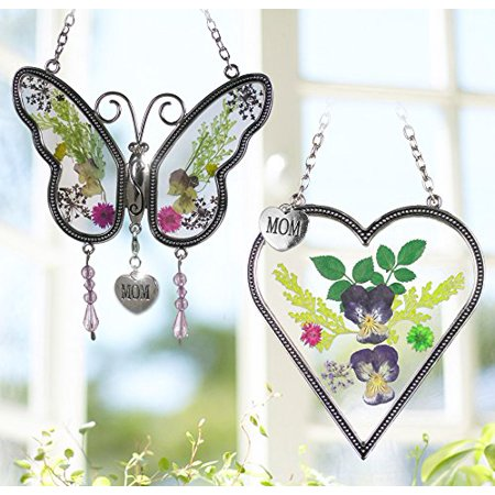 Mom Gifts - Mom Butterfly and Heart Sun Catcher Set - Stained Glass Suncatchers with Pressed Flowers - Engraved Silver Mom Charms