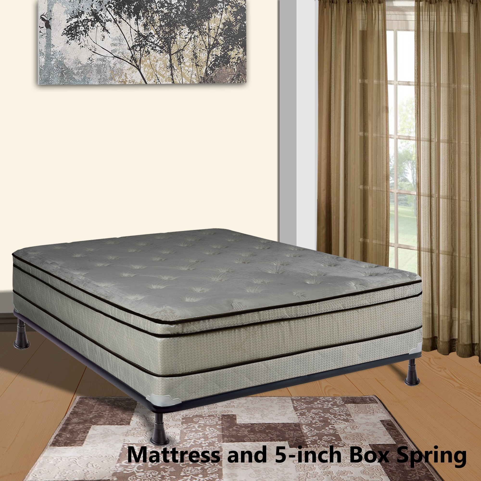 """Continental Sleep, 11-inch Fully Assembled FOAM ENCASED Innerspring Heavy plush Teddy Bear Fabric Mattress and 4"""" Box Spring, Queen Size"""