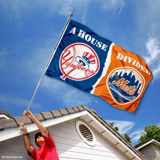 47df5a49e18ce MLB House Divided Flag - Yankees vs. Mets - Walmart.com