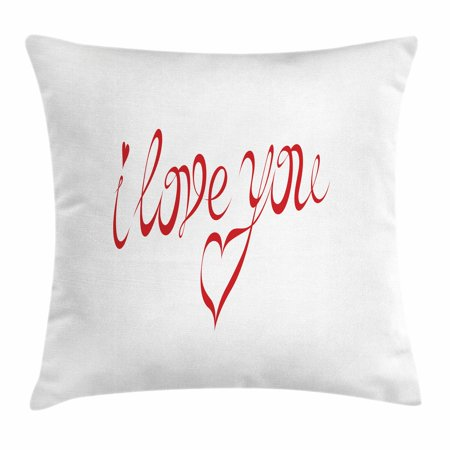 I Love You Throw Pillow Cushion Cover Swirling Letter