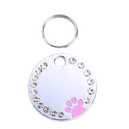 Cute Diamond Paw Dog Cat ID Name Tags Pet Jewelry (Pet Paw Id Tag)