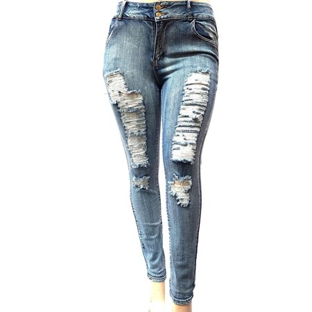 Womens Plus Size Acid Wash Distressed Ripped Blue Skinny Denim Jeans Pants