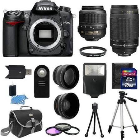 Nikon D7000 Digital SLR Camera + 4 Lens: 18-55 VR + 70-300 + 16GB Kit & More ()