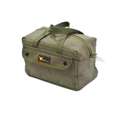 Government Issued Style Mechanics Heavy Duty Tool Bag With Brass Zipper And Side Pockets
