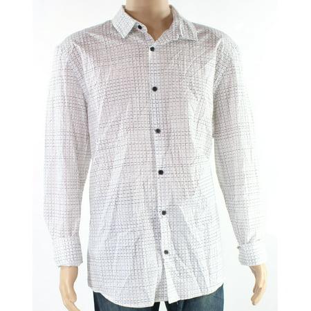 Alfani Mens Micro Check Print Button Down Shirt