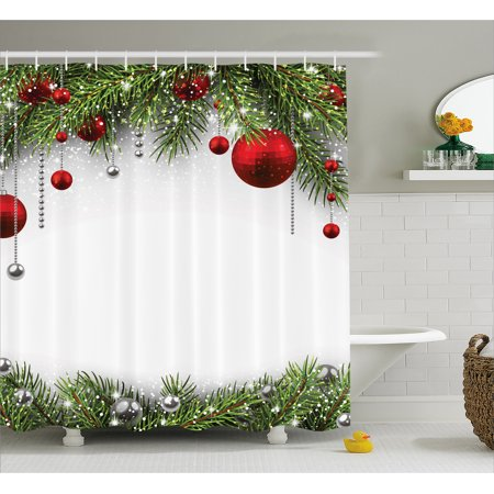 Christmas Shower Curtain Set, Noel Backdrop with Fir Leaves Decorative Bright Balls Classic Religious Xmas Decor, Bathroom Decor, Multi, by Ambesonne for $<!---->