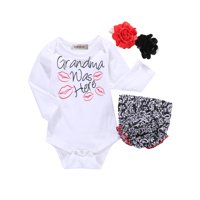 """StylesILove Baby Girl """"Grandma was Here"""" Cotton Top and Bloomer with Headband 3pcs Outfit Set (100/12-18 Months)"""