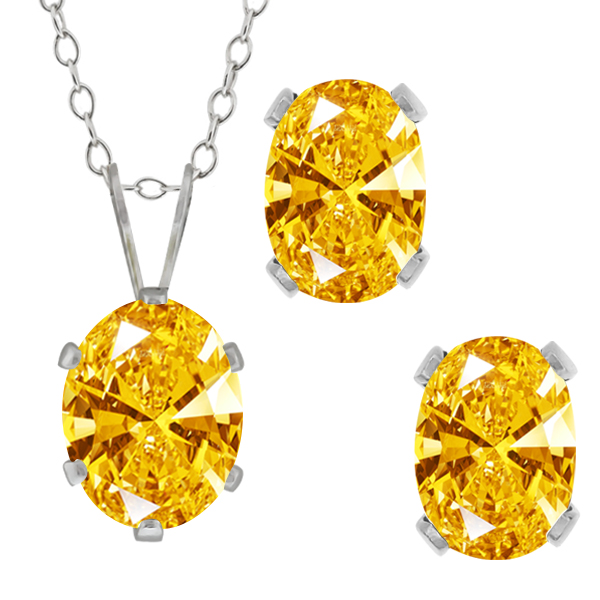 2.73 Ct Golden Yellow 925 Sterling Silver Pendant Earrings Set Made With Swarovski Zirconia