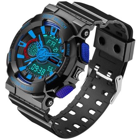 Mens Led Digital Multifunction Waterproof Sport Military Shock Watches  Black  Blue