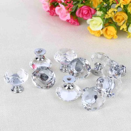 10Pcs Diamond Crystal Glass Cabinet Knobs Drawer Dresser Knobs Cupboard Handles Door Pull Knob Set (Pink Turtle Knob)