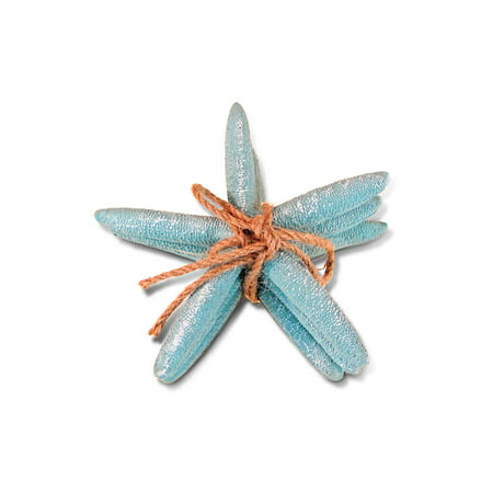 Puzzled Turquoise Starfish Tabletop Figurine with Rope, Intricate Meticulous Detail Resin Art Handcrafted Hand-painted Decoration Figure Nautical Ocean Sea Life Theme Home Accent Decor (3 Pc