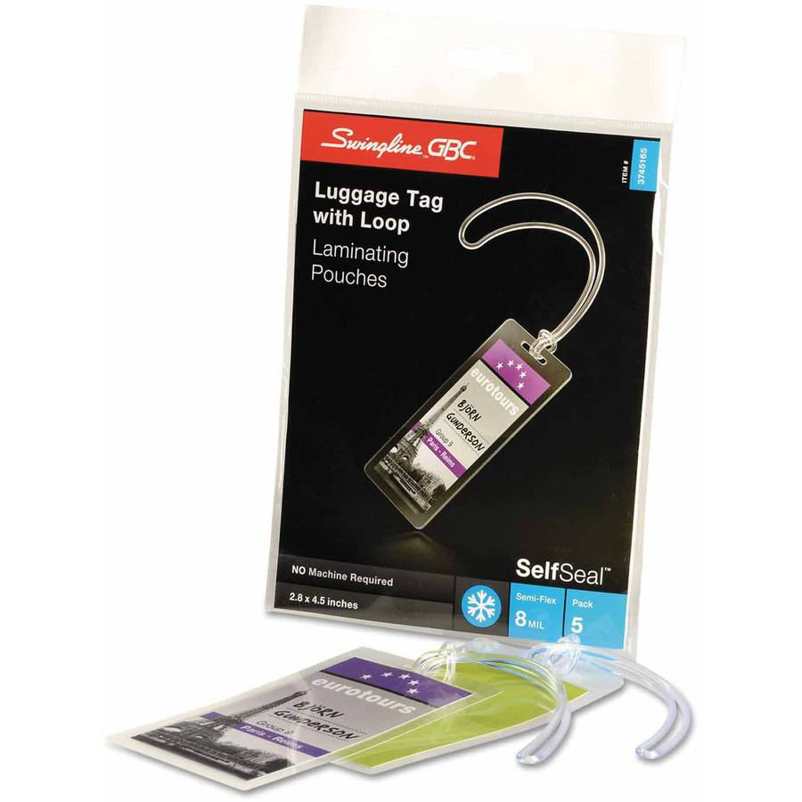 "Swingline GBC SelfSeal Self Adhesives Laminating, 8 mil, 2 7/8"" x 4 5/8"", Tag Size, 5pk"