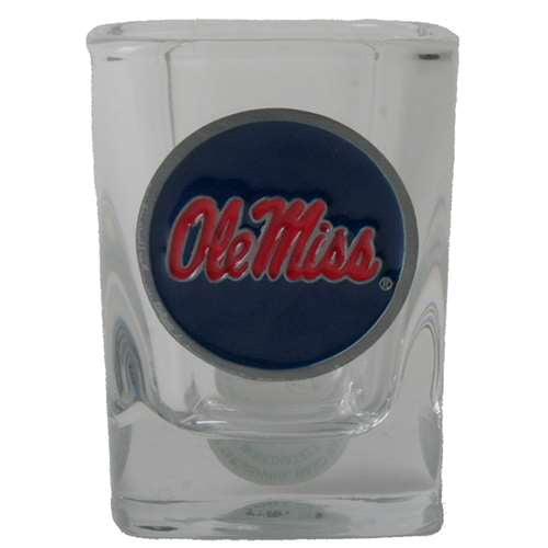 Mississippi Ole Miss Rebels 2oz Square Shot Glass - Team Color Pewter Logo