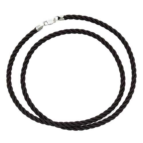 Black Rayon Satin Twisted 3mm Necklace Cord Sterling Silver Clasp/18 Inches