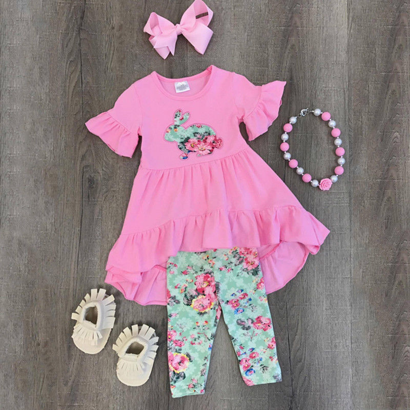 Toddler Kids Baby Girl Easter Top Dress Pants Leggings Outfits Set Clothes 2-7T