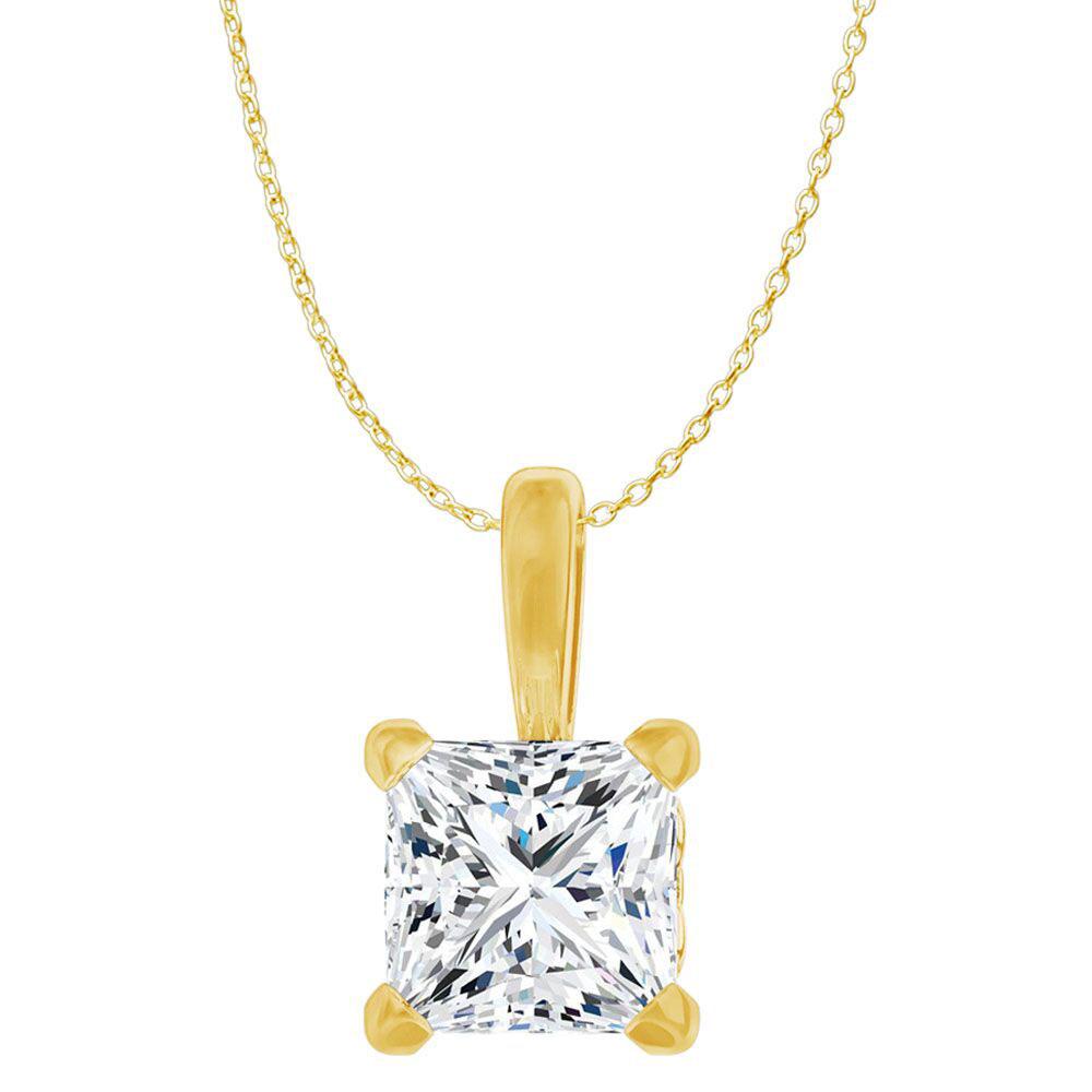 CZ Princess Cut Fleur de lis Pendant in Gold Vermeil - image 2 of 2