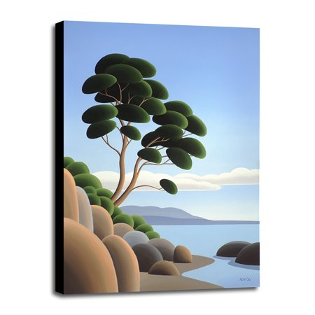 "Arbutus Point-RONPAR71140 Print 9.25""x6"" by Ron Parker in a Canvas Stretched in Black Frame"