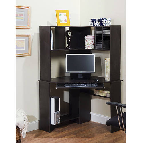Morgan Corner Computer Desk and Hutch, Black Oak