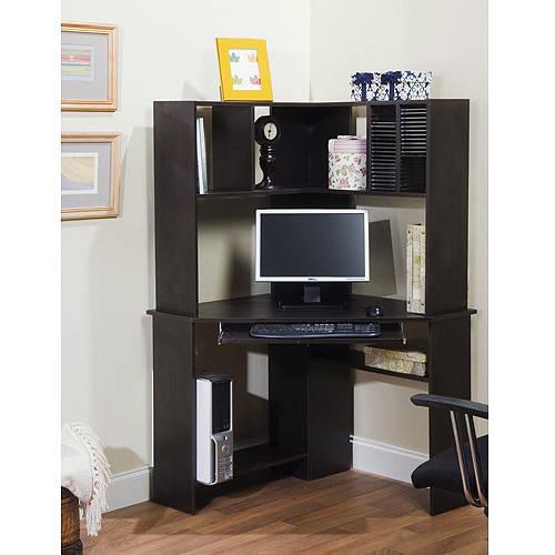 Morgan Corner Computer Desk And Hutch Black Oak Walmart Com