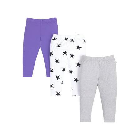 Pure Organic True Brights Leggings Pants, 3 Pk (Baby Girls & Toddler Girls)