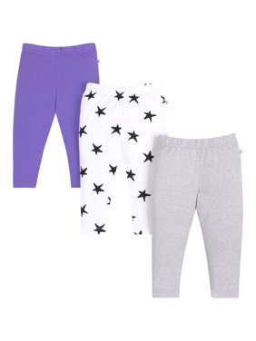 Little Star Organic Baby and Toddler Girl Pure Organic True Brights Leggings, 3 pack