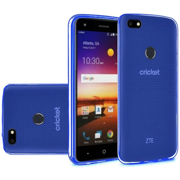 HR Wireless Rubber TPU Transparent Case Cover For ZTE Blade X, Dark Blue