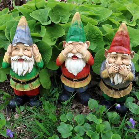 Sunnydaze Garden Gnome Seth Speaks No Evil Lawn Statue, Outdoor Yard  Ornament, 12 Inch Tall