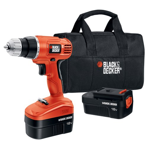 BLACK+DECKER 18-Volt Ni-Cad Cordless Drill with 2 Batteries and Carrying Case