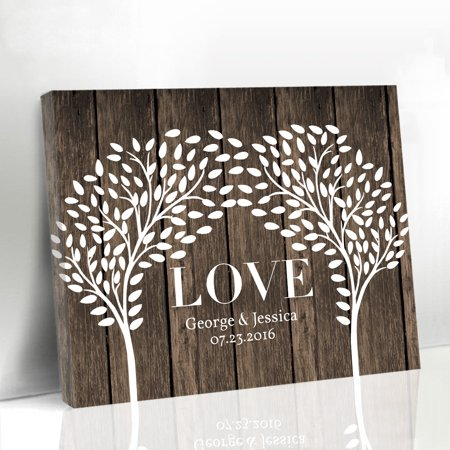 Buythrow Wedding Sign Personalized Guest Book Tree Alternative Rustic Guestbook Ideas 16X20 Inches