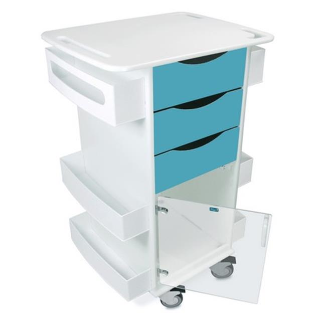 TrippNT 51426 Polyethylene Deluxe Medical Cart with Swinging Hinged Door, Bahama Sea Teal - 23 x 35 x 19 in.
