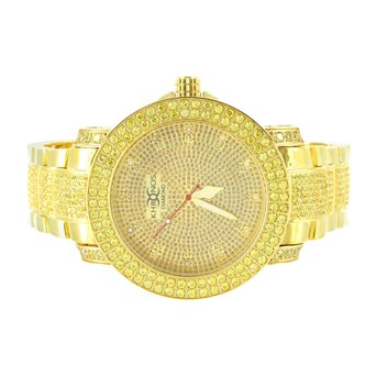 Iced Out 14k Gold Finish Real Diamond Men 2 Row Bezel Classy Khronos Steel Watch