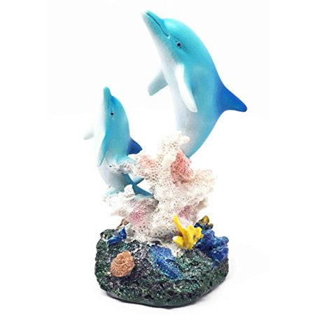Dolphin Mother & Calf Rising Above Tropical Coral Reef Figurine Ocean Marine