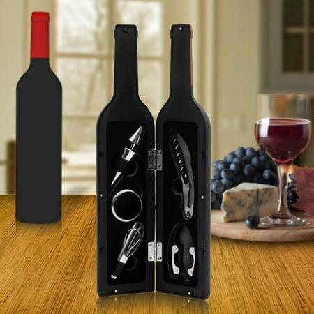 Drip Wine Server (Premium Wine Bottle Gift Set - Opener, Stopper, Drip Ring, Foil Cutter & Pourer )